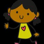 Cartoon of girl in yellow dress