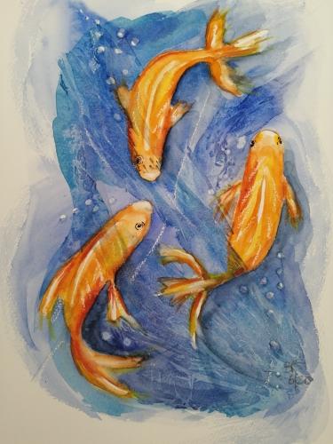 Painting of three goldfish