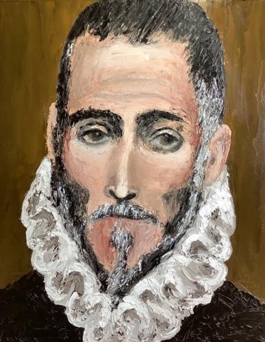 Copy of El Greco self portrait in oil