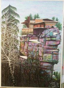 Drawing of a house on a rock
