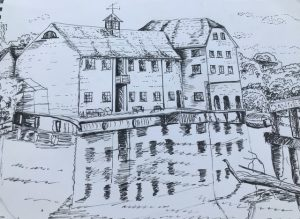 Line drawing of a mill house