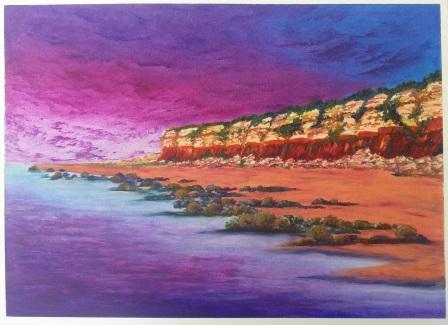 Oil pastel painting of Hunstanton Cliffs