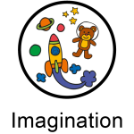cartoon drawing of space rocket, plants and teddy bear astronaut