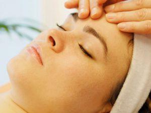 Woman having a head massage