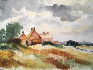 Landscape scene in watercolour inspired by Edward Seago
