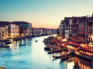 Grand Canal in Venice after sunset