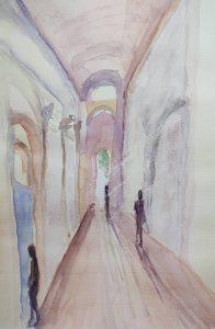 Watercolour painting of Italian Church