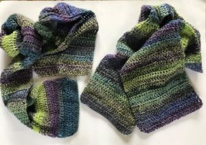 Crochet green and blue scarves