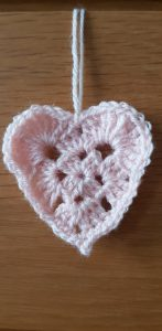 Crochet pink heart