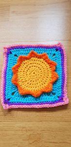 Colourful crochet square