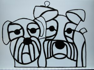Black and white stained glass dogs