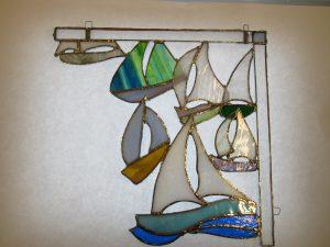 Stained glass boat regatta design