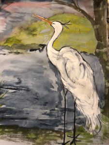 Painting of a japanese white stork
