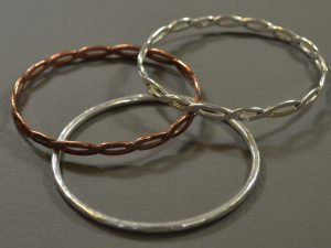 Silver and copper bangles