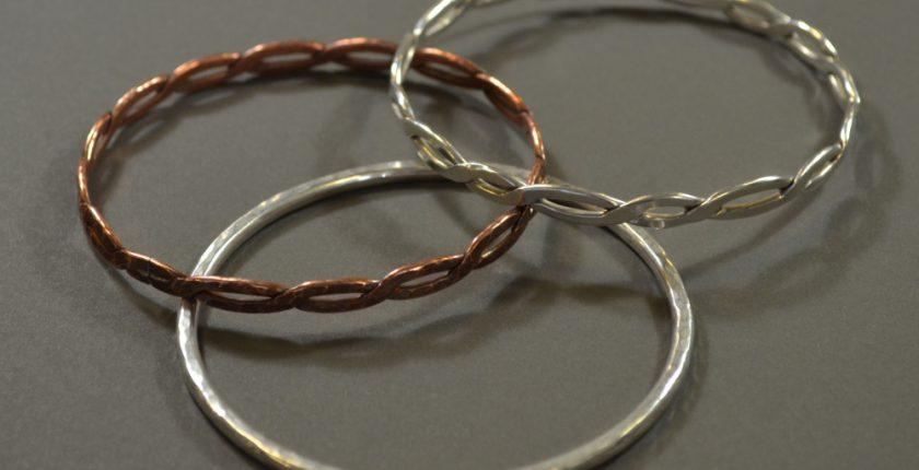 Silver and copper bangles
