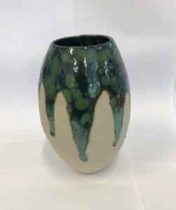 ceramic green and blue drip design vase
