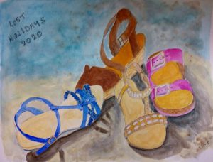 Painting of sandals entitled Lost Holidays 2020