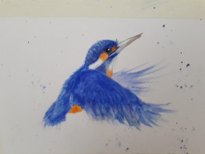 Painting of a blue kingfisher