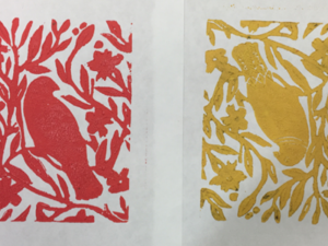 Red and Yellow linoprint of a bird