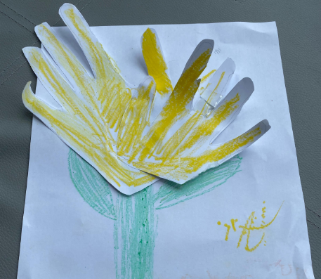 Child's drawing of a yellow flower