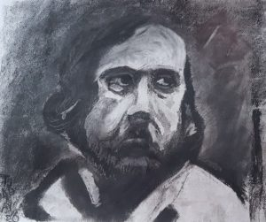 Charcoal Portrait of a Man in a White Shirt