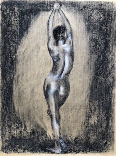 Drawing of a nude woman stretching