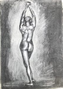 Charcoal drawing of a nude woman stretching