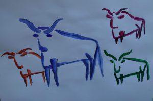 Oxen in watercolour