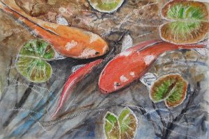 Drawing of a fish pond