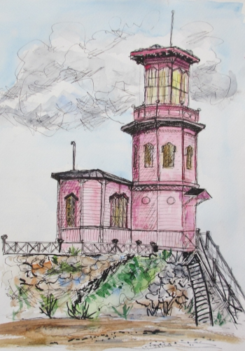 Painting of an old observatory in pink