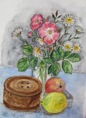 Still life painting of flowers and fruit