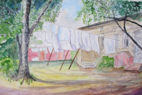 Painting of sheets drying on a washing line