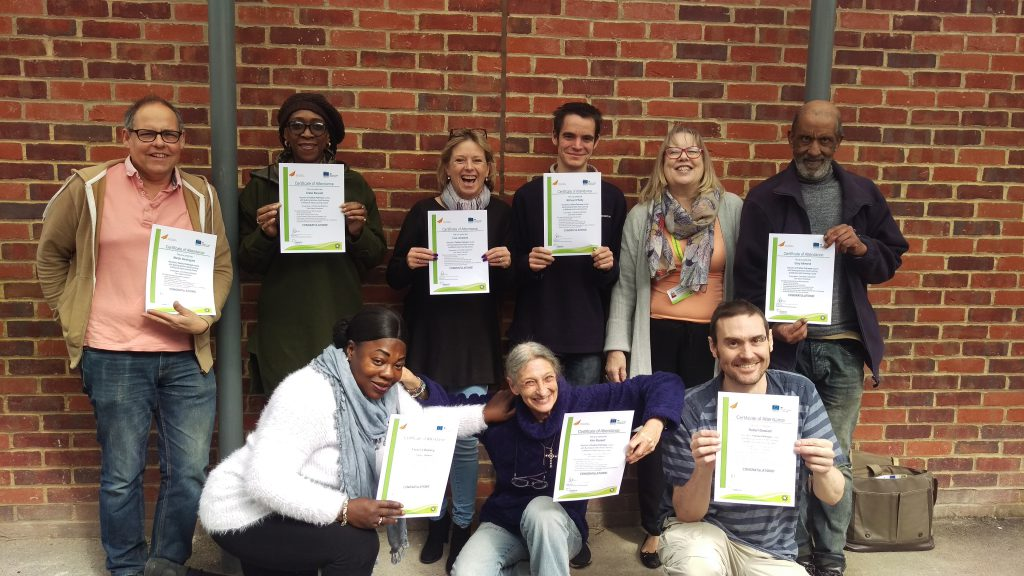 Group of learners with certificates