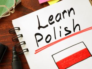 White pad with Learn Polish and polish flag written on it