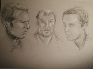 Portrait drawing of three men