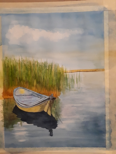 Painting of a riverboat next to reeds