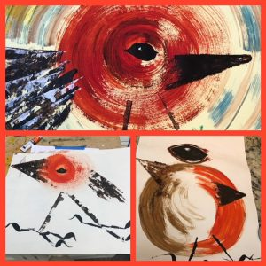 Paintings of robins