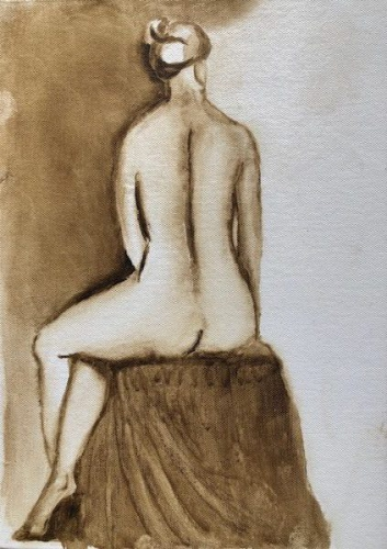 Drawing of a seated nude woman