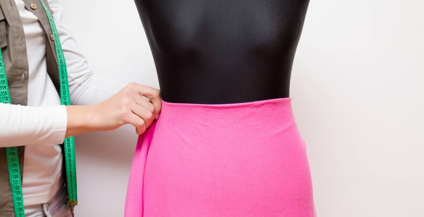 mannequin with a pink skirt