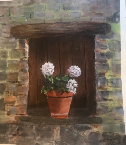 Painting of a door with a flowerpot in front
