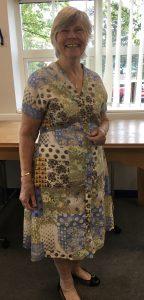 woman in handmade dress