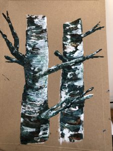 Painting of silver birch trees