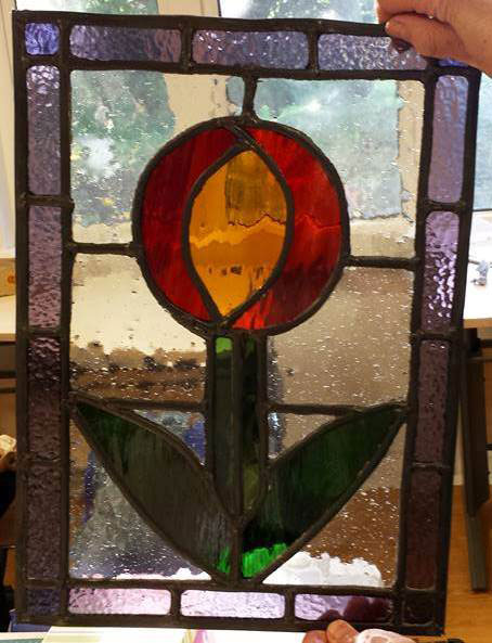 Stained glass flower panel