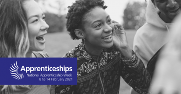 National apprenticeship week banner with three young people smiling