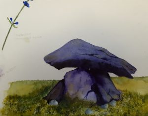 Painting of two stacked stones by Fiona Bridger