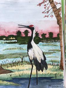 Painting of a stork bird