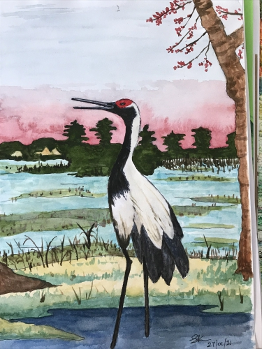 Painting of a stork bird
