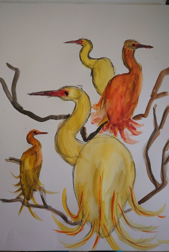 Storks in Watercolour