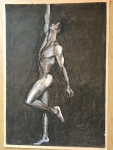 Charcoal drawing of nude stretching man