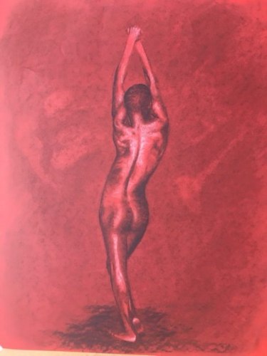 Drawing of a nude stretching woman in red